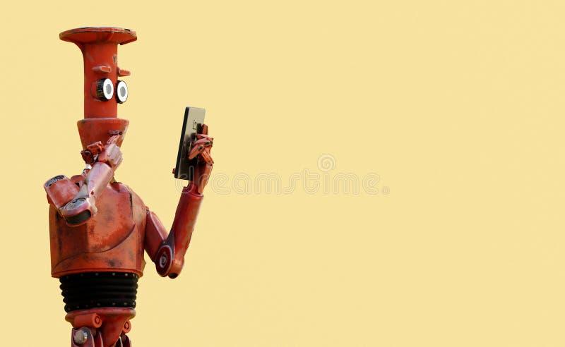 De grunge uitstekende robot kijkt op celtelefoon het 3d teruggeven royalty-vrije illustratie
