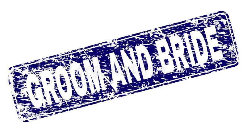 De de Grungebruidegom EN BRUID ontwierpen Rond gemaakte Rechthoekzegel royalty-vrije illustratie