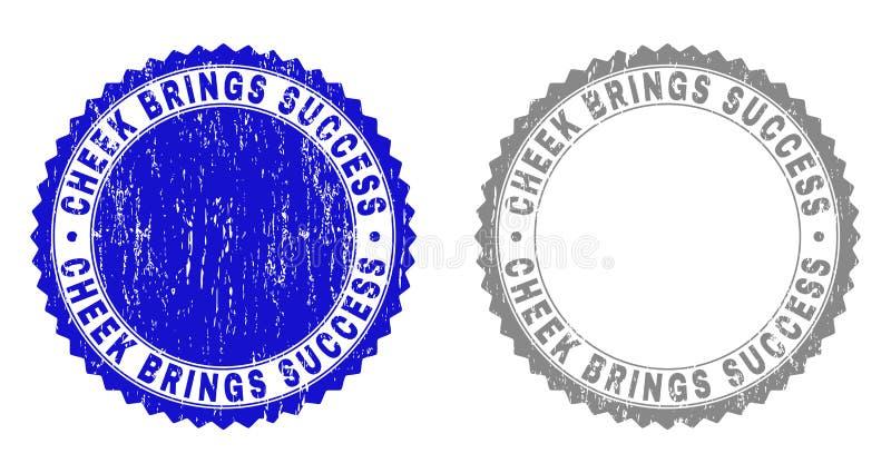 De Grungewang BRENGT SUCCES Gekraste Zegels stock illustratie
