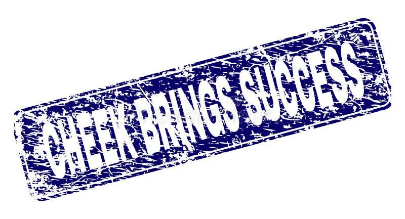 De Grungewang BRENGT SUCCES ontwierp Rond gemaakte Rechthoekzegel stock illustratie