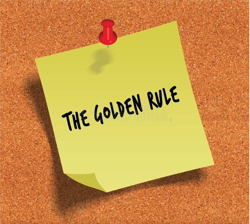 De GULDEN REGEL met de hand geschreven op gele kleverige document nota over cork noticeboard achtergrond vector illustratie