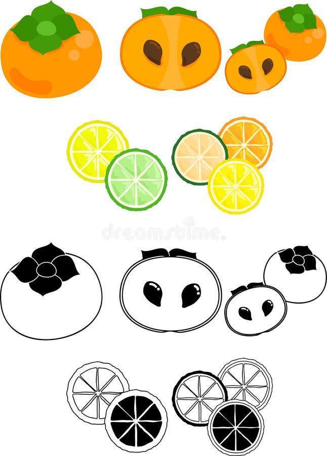 De gulliga symbolerna av frukter royaltyfri illustrationer