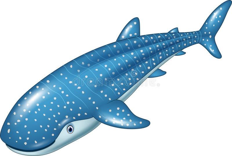 De haai van de beeldverhaalwalvis op witte achtergrond royalty-vrije illustratie