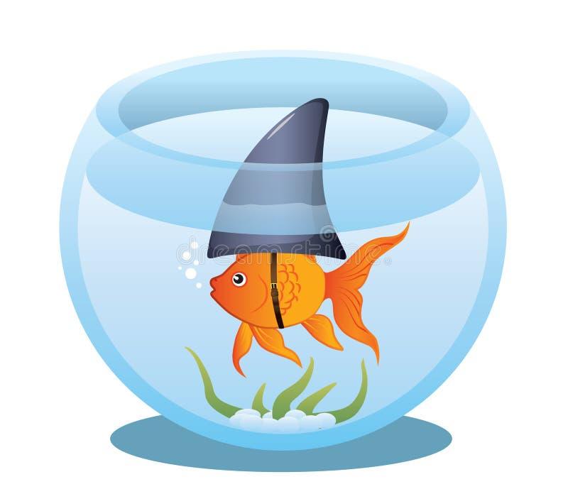 De Haai van de goudvis in Kom stock illustratie