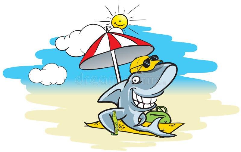De haai van het strand royalty-vrije illustratie