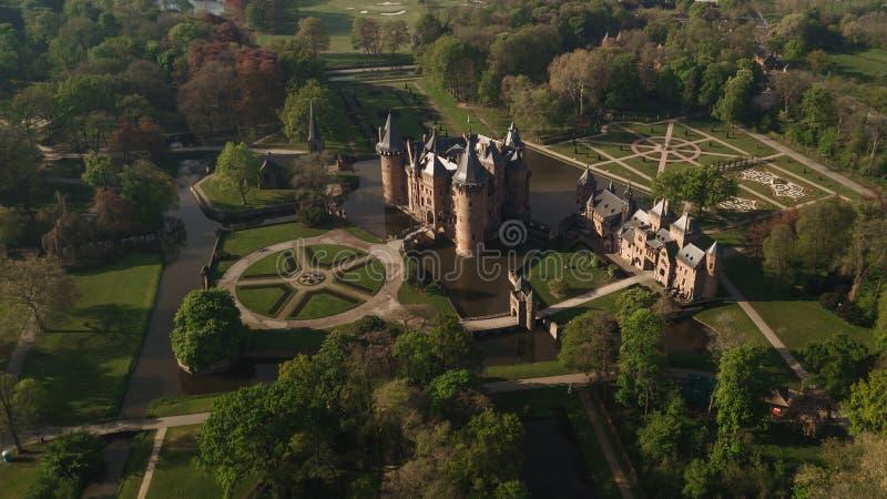 De Haar Castle in Dutch Kasteel de Haar is located in Utrecht Netherlands Aerial royalty free stock photo