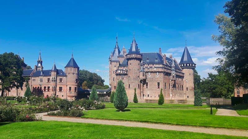 De Haar Castle i Utrecht Nederländerna arkivfoto