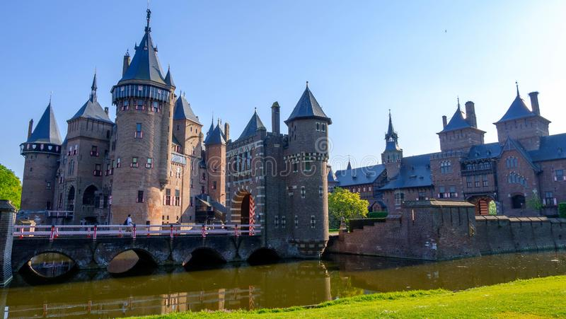 De Haar castle on the lake, Holland. Famous castles of Netherlands stock photography