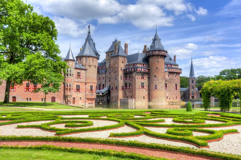 De Haar slott nära Utrecht, Nederländerna royaltyfri bild