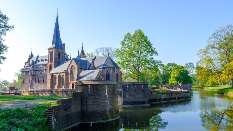 De Haar slott p? sj?n, Holland Ber?mda slottar av Nederl?nderna fotografering för bildbyråer