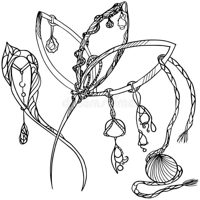 De haarspelden van manierjuwelen met tegenhangers en coulomb In moderne en etnische stijlen met zentangleelementen stock illustratie