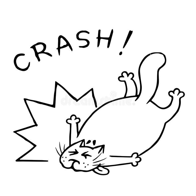 De haastige kat en viel Schok en boom Vector illustratie vector illustratie