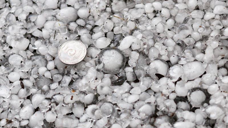 De hagelstenen ter plaatse na hagelbui, hagel van grote grootte, begroeten met maat met een groter muntstuk stock afbeeldingen