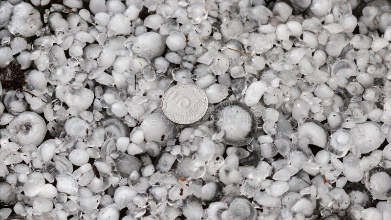 De hagelstenen ter plaatse na hagelbui, hagel van grote grootte, begroeten met maat met een groter muntstuk stock foto