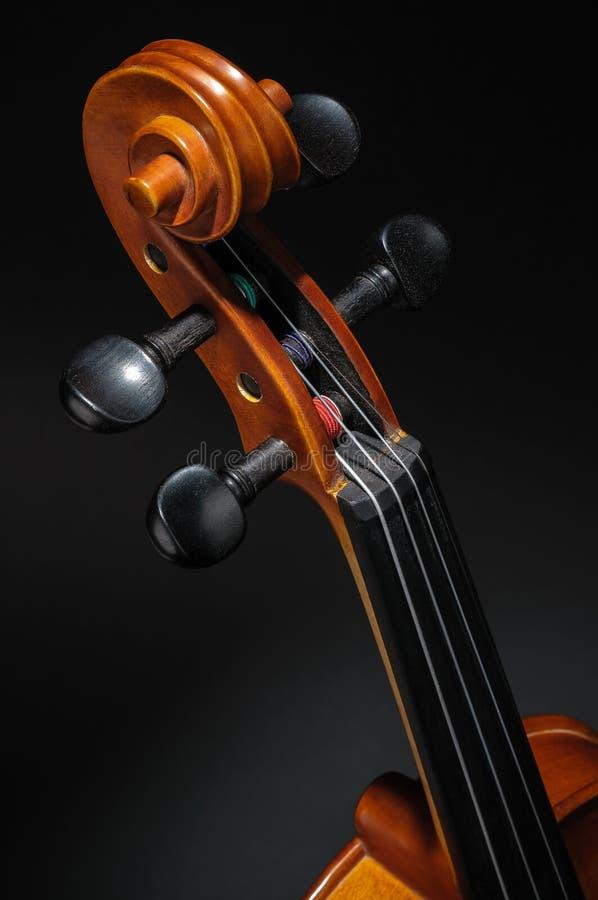 De hals van de viool, pegbox en roldetail royalty-vrije stock foto's