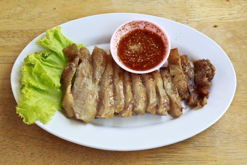 De hals van varkensvlees stak Thais voedsel in brand royalty-vrije stock afbeelding