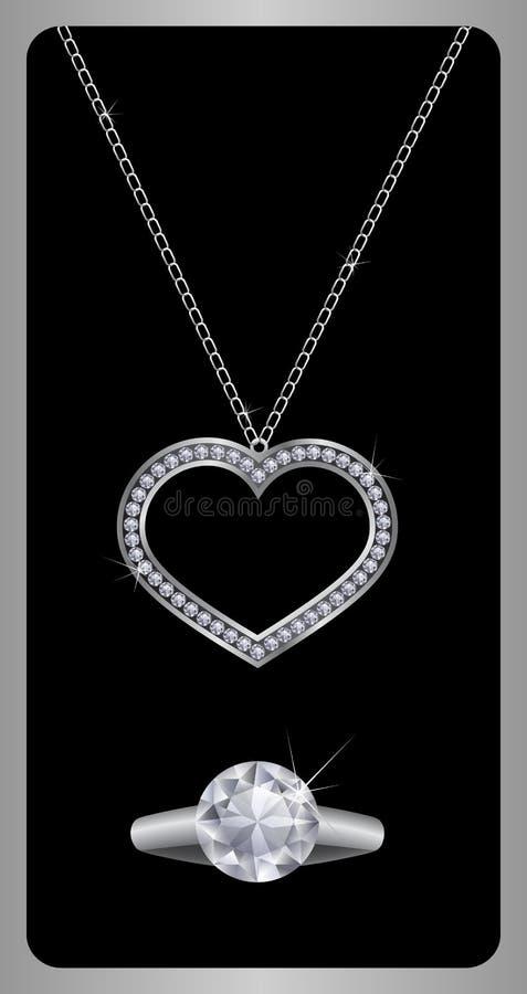 De halsband en de ring van de diamant stock illustratie