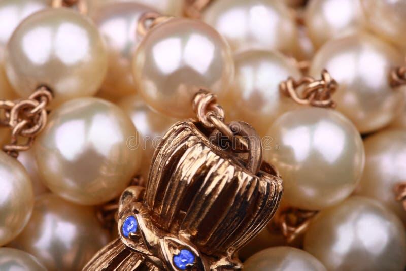 De halsband extreme close-up van parels stock foto's