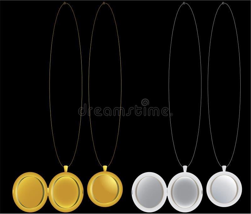 De halsbanden van het medaillon en van het medaillon in zilveren en gouden vector illustratie