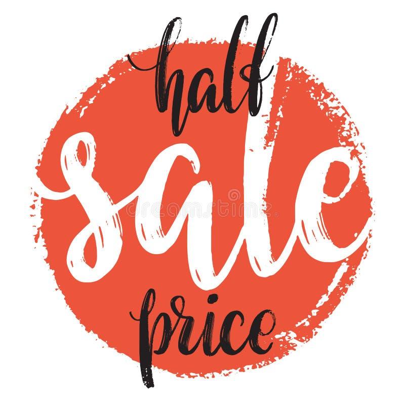 De halve markering van de prijsverkoop Hand getrokken rode cirkel met verkoop binnen woord Moderne kalligrafie en van letters voo royalty-vrije illustratie