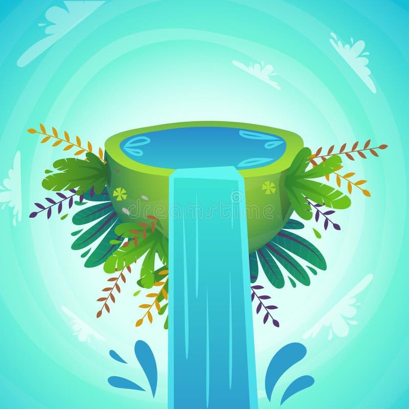 de halve planeet van Greenpeace met de dalingen van de waterplons, vrolijke installaties en bloemen de grappige leuke vectorillus stock illustratie