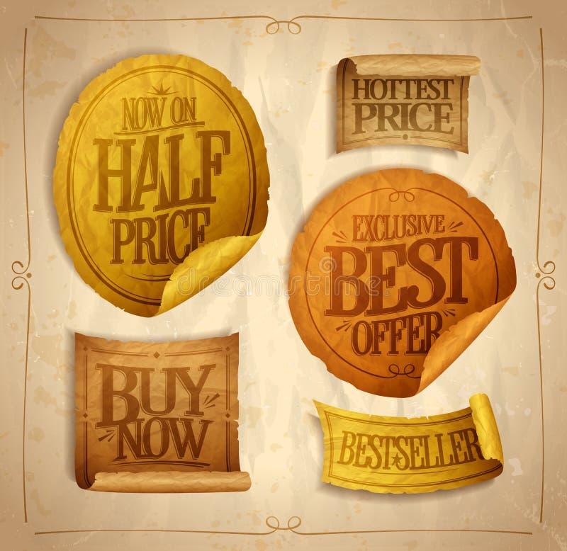 De halve prijsbesparingen, heetste prijs, beste aanbieding, kopen nu, verkoopstickers vector illustratie