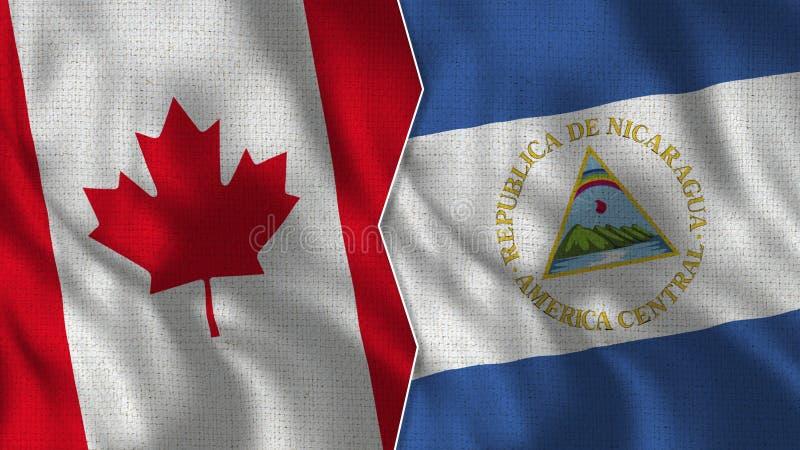 De Halve Vlaggen TogetherMongolia van Canada en van Nicaragua royalty-vrije stock afbeelding