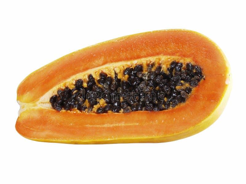 De halve vruchten van de besnoeiingspapaja op witte achtergrond royalty-vrije stock afbeelding
