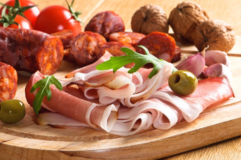 De Ham & Chorizo van Parma royalty-vrije stock foto's