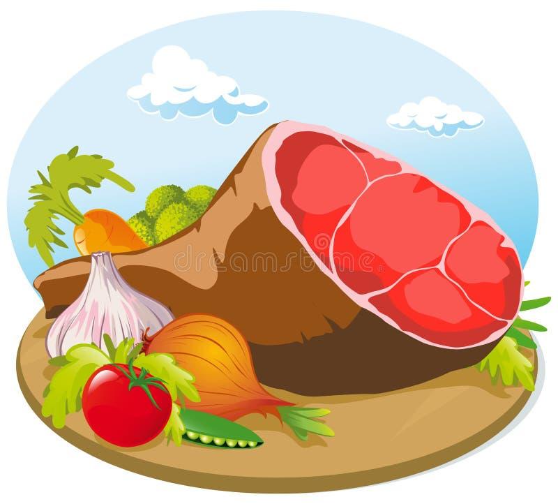 De ham van het varkensvlees met groente royalty-vrije illustratie