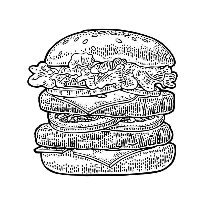 De hamburger omvat kotelet, tomaat, komkommer, salade Vector zwarte uitstekende gravure stock illustratie