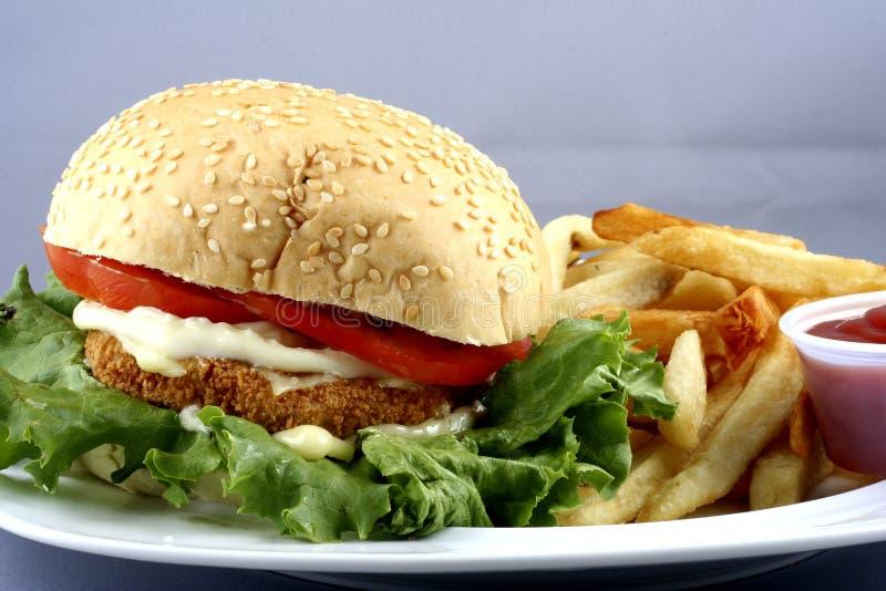 De hamburgercombo van de kip royalty-vrije stock afbeelding