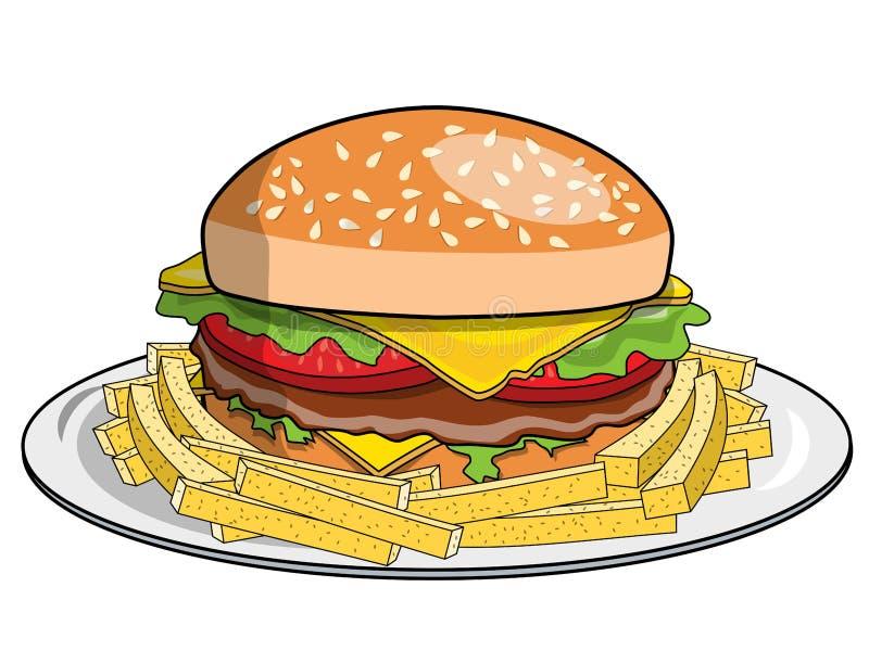 De hamburgerfrieten dienden geïsoleerde plaat royalty-vrije illustratie