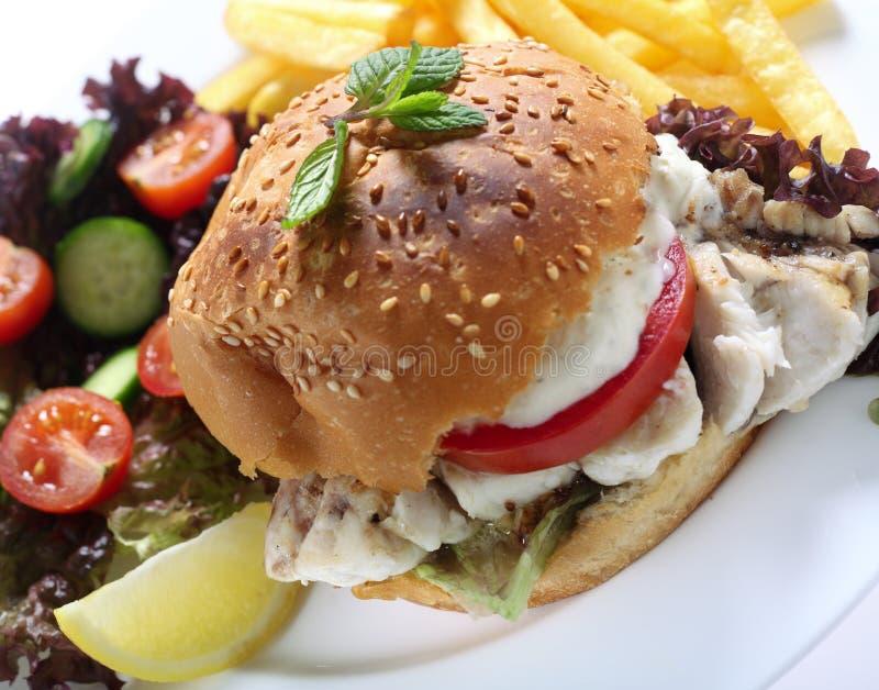 De hamburgermaaltijd van vissen met gebraden gerechten royalty-vrije stock foto's