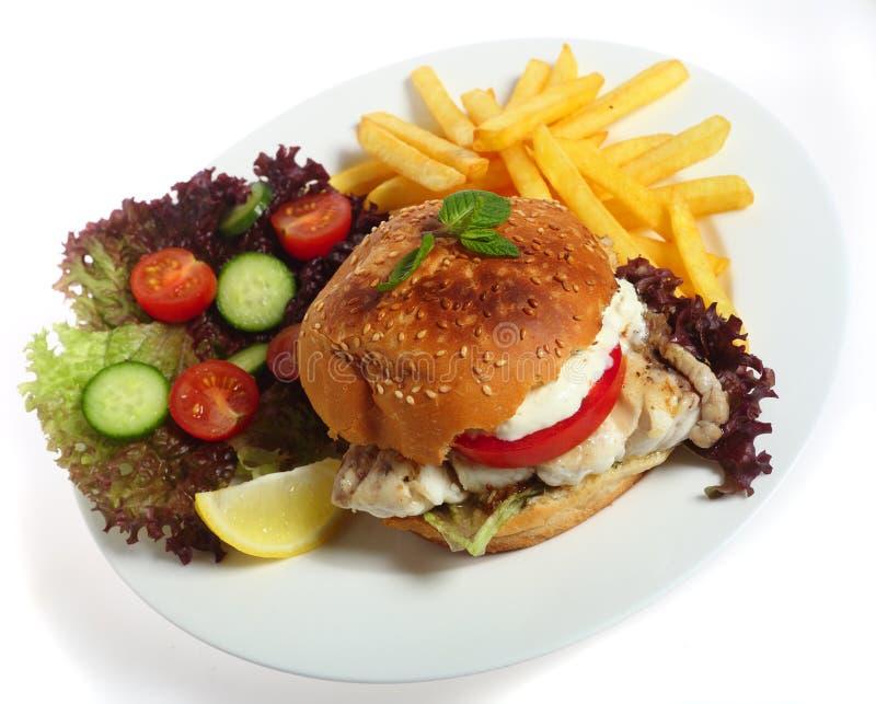 De hamburgermaaltijd van vissen met gebraden gerechten royalty-vrije stock afbeeldingen