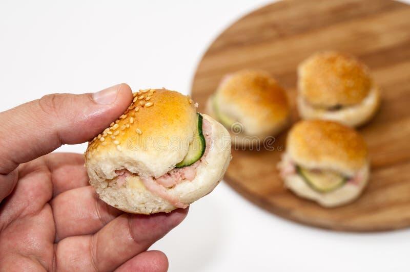 De hamburgersandwiches van de handholding royalty-vrije stock afbeelding