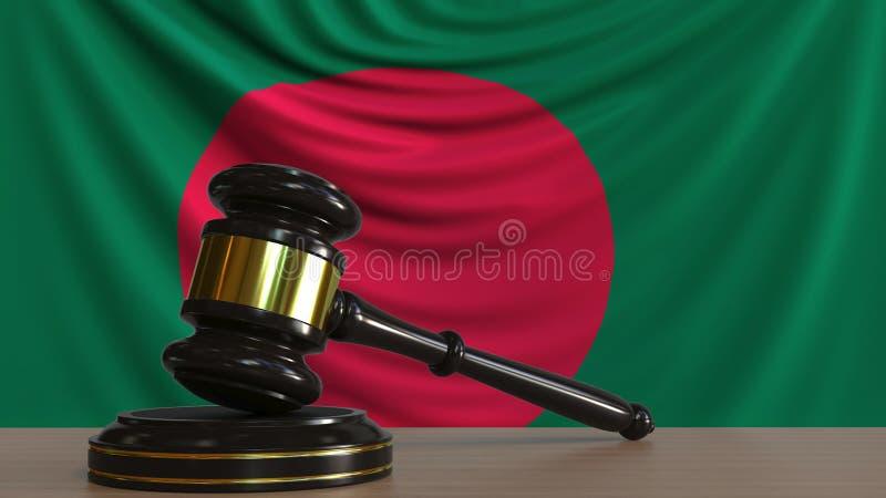 De hamer en het blok van de rechter tegen de vlag van Bangladesh Het inwoner van Bangladesh hof conceptuele 3D teruggeven stock illustratie