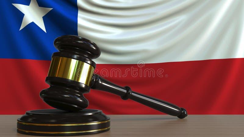 De hamer en het blok van de rechter tegen de vlag van Chili Het Chileense hof conceptuele 3D teruggeven royalty-vrije illustratie