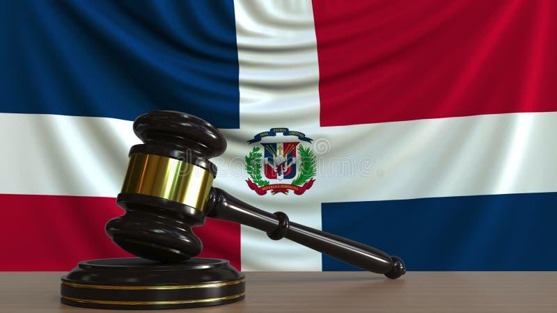 De hamer en het blok van de rechter tegen de vlag van de Dominicaanse Republiek Het nationale hof conceptuele 3D teruggeven royalty-vrije illustratie