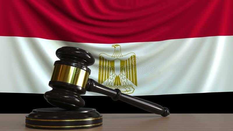 De hamer en het blok van de rechter tegen de vlag van Egypte Het Egyptische hof conceptuele 3D teruggeven royalty-vrije illustratie
