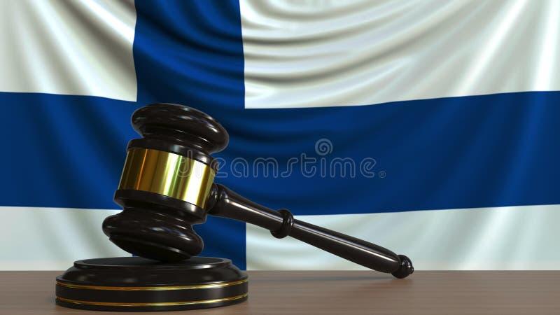 De hamer en het blok van de rechter tegen de vlag van Finland Het finse hof conceptuele 3D teruggeven royalty-vrije illustratie