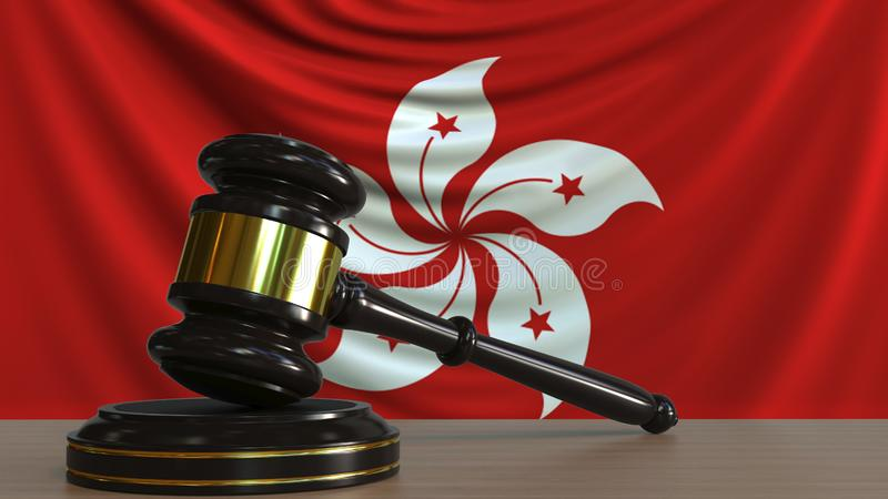 De hamer en het blok van de rechter tegen de vlag van Hongkong Hof het conceptuele 3D teruggeven vector illustratie