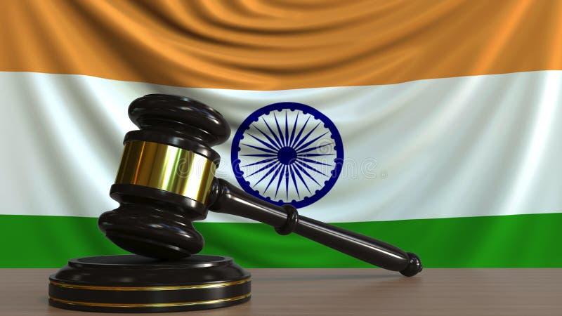 De hamer en het blok van de rechter tegen de vlag van India Het Indische hof conceptuele 3D teruggeven royalty-vrije illustratie