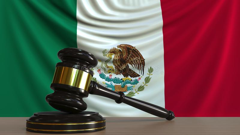 De hamer en het blok van de rechter tegen de vlag van Mexico Het Mexicaanse hof conceptuele 3D teruggeven royalty-vrije illustratie
