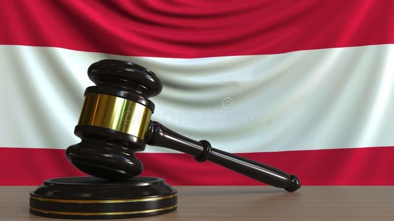 De hamer en het blok van de rechter tegen de vlag van Oostenrijk Het Oostenrijkse hof conceptuele 3D teruggeven royalty-vrije illustratie