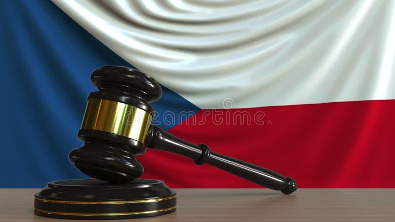 De hamer en het blok van de rechter tegen de vlag van de Tsjechische Republiek Het nationale hof conceptuele 3D teruggeven royalty-vrije illustratie