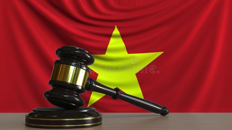De hamer en het blok van de rechter tegen de vlag van Vietnam Het Vietnamese hof conceptuele 3D teruggeven stock illustratie