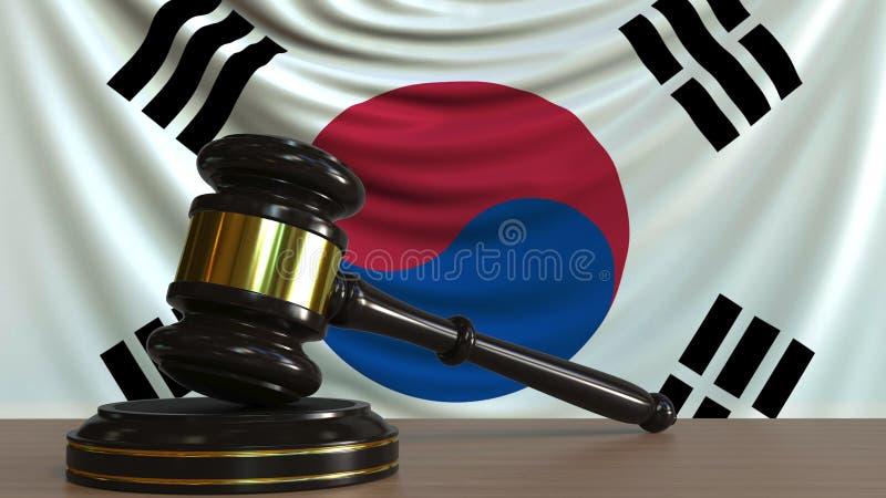 De hamer en het blok van de rechter tegen de vlag van Zuid-Korea Het Koreaanse hof conceptuele 3D teruggeven royalty-vrije illustratie
