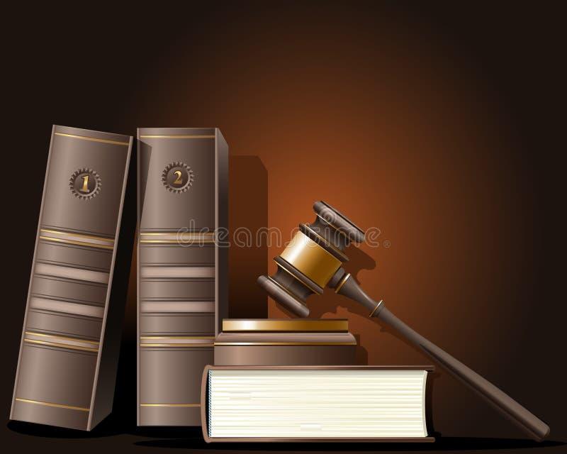 De hamer van de rechter en boek van wet vector illustratie