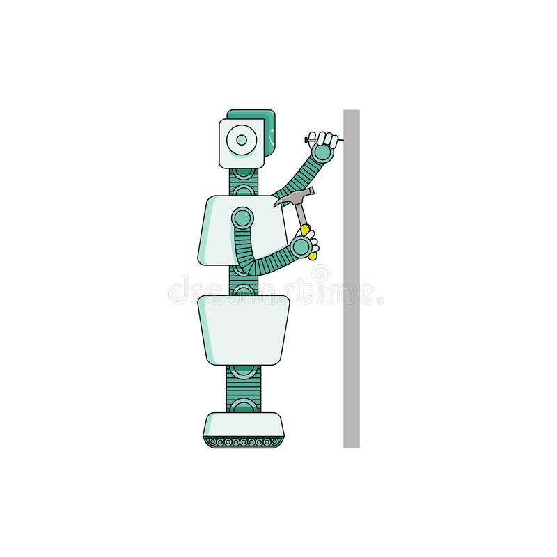De hamersspijker van de robothuishoudster in muur - beeldverhaalkarakter op witte achtergrond wordt geïsoleerd die vector illustratie